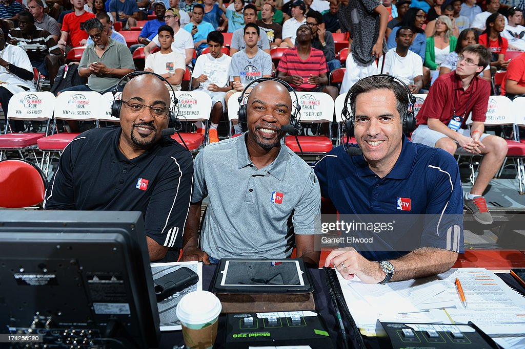 NBA TV analysts Dennis Scott, Greg Anthony and Matt Winer announce the Championship game. Where The Phoenix Suns take on the Golden State Warriors during NBA Summer League on July 22, 2013 at the Cox Pavilion in Las Vegas, Nevada.