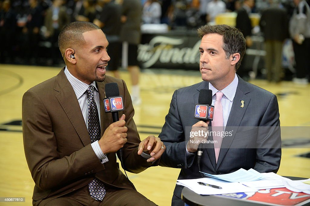 NBA analysts <a gi-track='captionPersonalityLinkClicked' href=/galleries/search?phrase=Grant+Hill+-+Basketball+Player&family=editorial&specificpeople=201658 ng-click='$event.stopPropagation()'>Grant Hill</a> and <a gi-track='captionPersonalityLinkClicked' href=/galleries/search?phrase=Matt+Winer&family=editorial&specificpeople=7033466 ng-click='$event.stopPropagation()'>Matt Winer</a> before the game between the Miami Heat and San Antonio Spurs during Game Five of the 2014 NBA Finals at AT&T Center on June 15, 2014 in San Antonio, Texas.