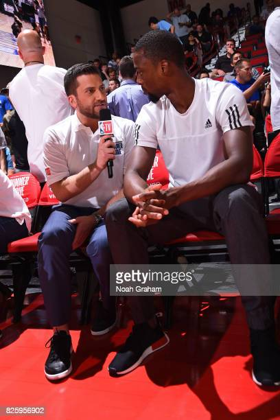 Analysts Jared Greenberg interviews Harrison Barnes of the Dallas Mavericks during the 2017 Las Vegas Summer League game against the Miami Heat on...