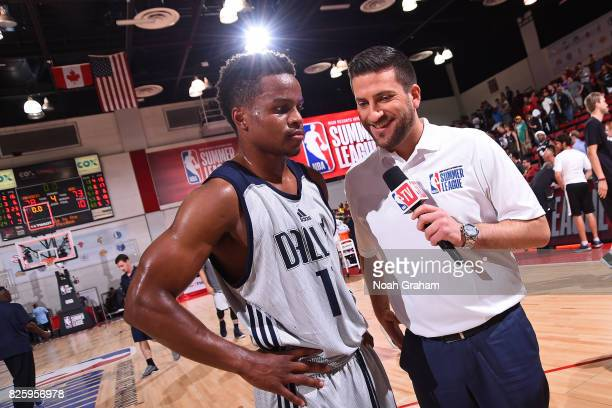 Analysts Jared Greenberg interviews Yogi Ferrell of the Dallas Mavericks after the 2017 Las Vegas Summer League game against the Miami Heat on July...