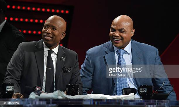 NBA analysts Kenny Smith and Charles Barkley laugh during a live telecast of 'NBA on TNT' at CES 2017 at the Sands Expo and Convention Center on...