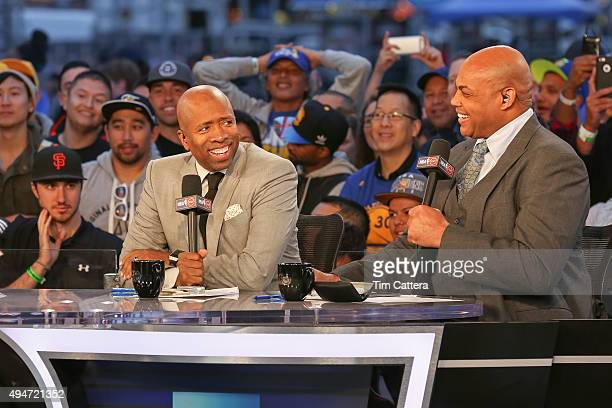 Analysts Kenny Smith and Charles Barkley talk during the Opening Night Tipoff of 201516 season for NBA on TNT on October 27 2015 at Pier 39 in...