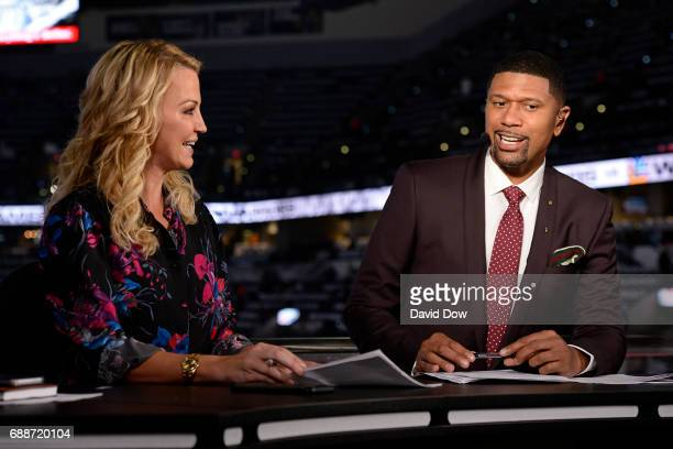 Analysts Michelle Beadle and Jalen Rose tape a segment before Game Four of the Western Conference Finals between the Golden State Warriors and the...
