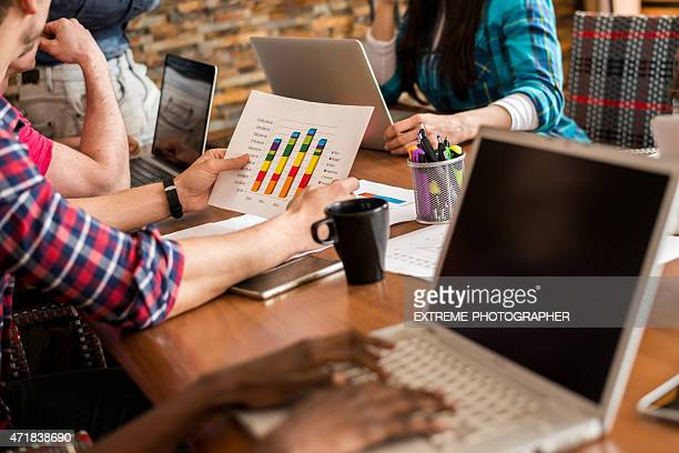 Analyzing data charts in the office