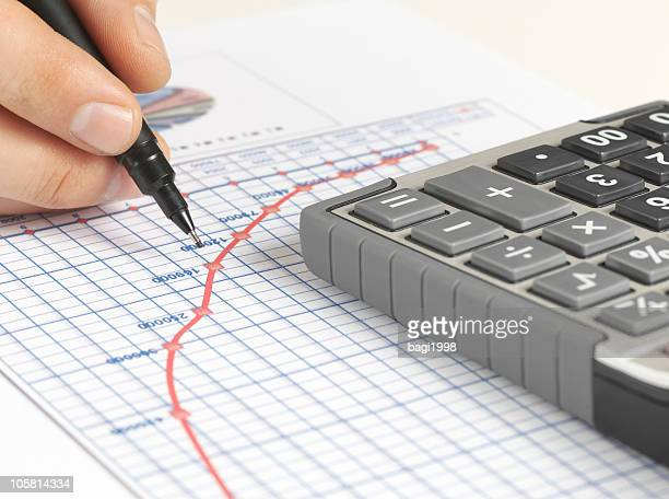Analyzing financial data with graph paper and calculator