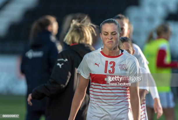 AnaMaria Crnogorcevic of Swiss after International Friendly match between Norway v Switzerland at Skagerak Arena on April 10 2017 in Skien Norway