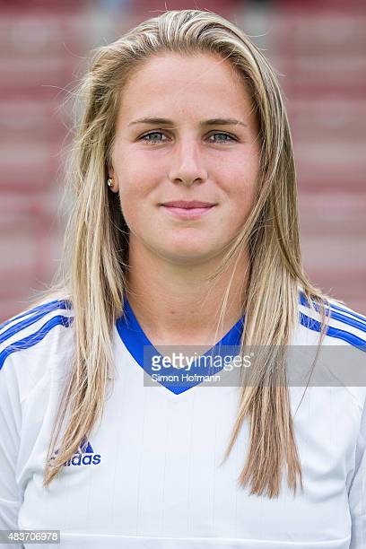 AnaMaria Crnogorcevic poses during 1 FFC Frankfurt Team Presentation at Stadion am Brentanobad on August 11 2015 in Frankfurt am Main Germany