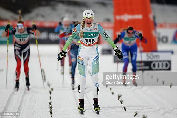 Anamarija Lampic of Slovenia wins the Ladies 14km Sprint Classic Finals during the FIS CrossCountry World Cup presented by Viessmann Test Event For...
