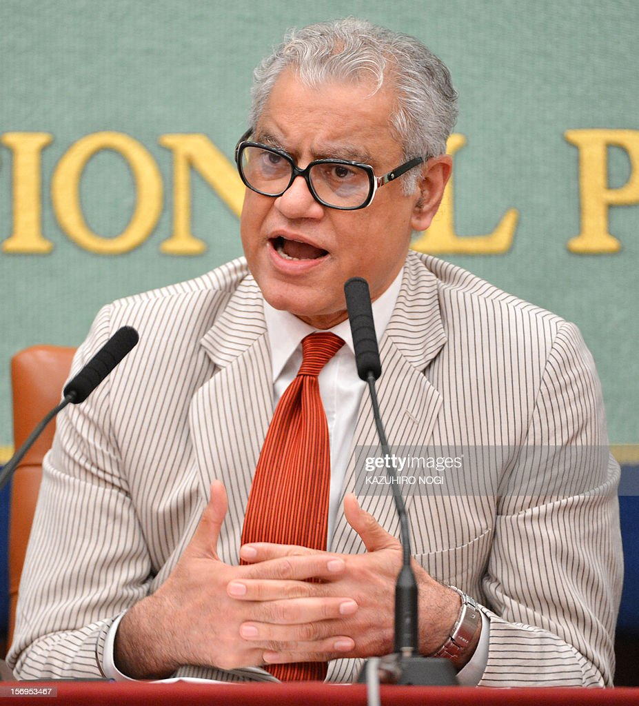 Anand Grover, the United Nations Special Rapporteur on the right of everyone to the enjoyment of the highest attainable standard of health, speaks during a press conference at the Japan National Press Club in Tokyo on November 26, 2012. Grover is in Japan from November 15 to 26 to investigate the right to health of people affected by the Fukushima nuclear disaster.