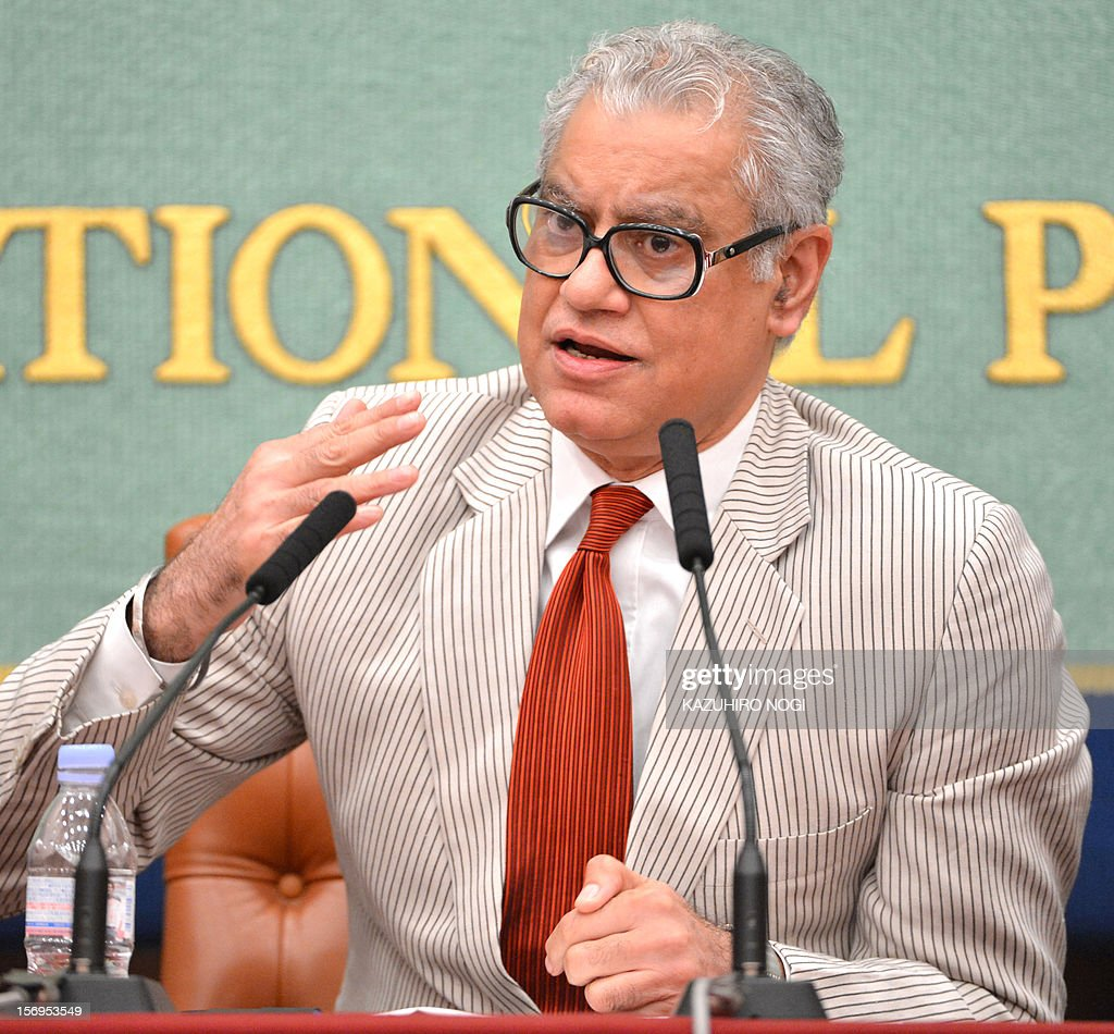 Anand Grover, the United Nations Special Rapporteur on the right of everyone to the enjoyment of the highest attainable standard of health, speaks during a press conference at the Japan National Press Club in Tokyo on November 26, 2012. Grover is in Japan from November 15 to 26 to investigate the right to health of people affected by the Fukushima nuclear disaster. AFP PHOTO / KAZUHIRO NOGI