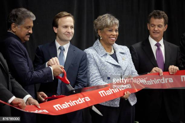 Anand Mahindra chairman of Mahindra Mahindra Ltd from left Brian Calley lieutenant governor of Michigan Representative Brenda Lawrence a Democrat...