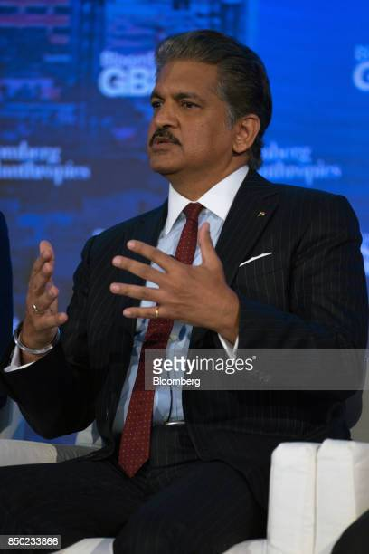Anand Mahindra chairman of Mahindra Mahindra Ltd speaks during the Bloomberg Global Business Forum in New York US on Wednesday Sept 20 2017 The forum...