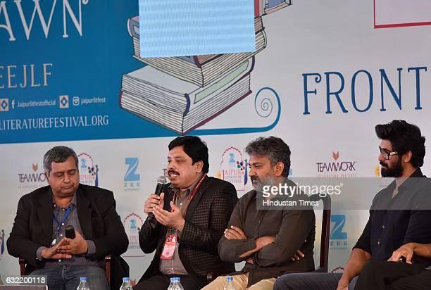 Anand Neelankantan S S Rajmouli and Rana Daggubati during the 'Baahubali' session at the Jaipur Literature Fest 2017 on January 20 2017 in Jaipur...