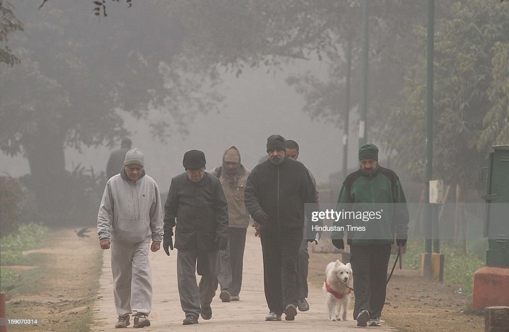 Anand Sharma Minister of Commerce & Industry (2 R) with friends jogging at Lodi Garden on a foggy and cold morning on January 7, 2013 in New Delhi, India. Dense fog and icy winds disrupted normal life as Delhi's minimum temperature settled at five notches below average at 2.4 degrees Celsius. Fog forced visibility to drop to about 500 metres in the morning resulting in 15 flights and 42 trains were delayed out of Delhi while 18 trains got cancelled.