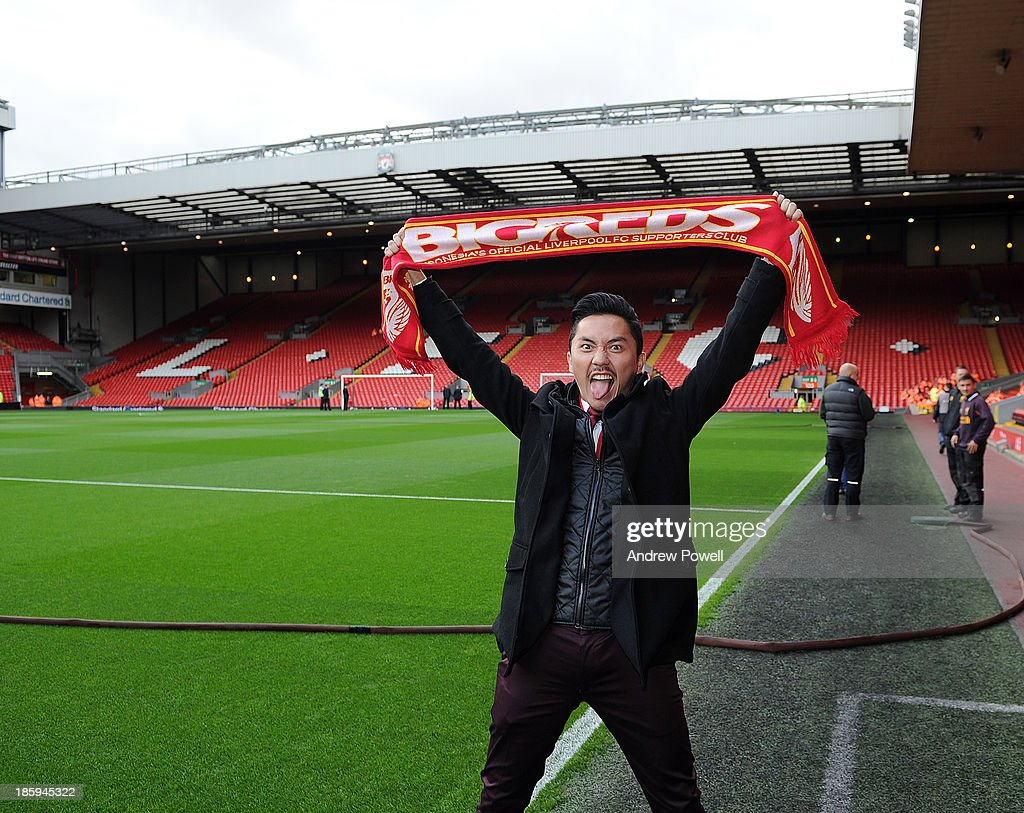 Ananda Omesh poses before the Barclays Premier League match between Liverpool and West Bromwich Albion at Anfield on October 26, 2013 in Liverpool, England.