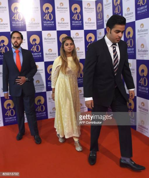 Anant Ambani Isha Ambani and Akash Ambani children of India's richest man and oiltotelecom conglomerate Reliance Industries chairman Mukesh Ambani...