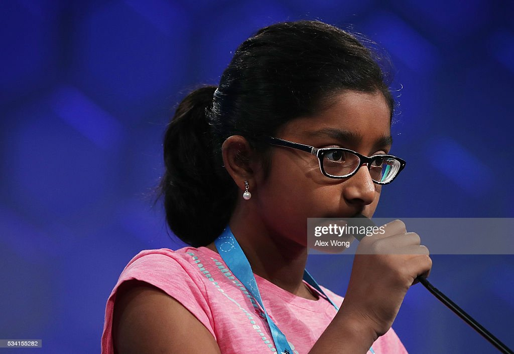 Ananya Vinay of Fresno, California, participates in round two of the 2016 Scripps National Spelling Bee May 25, 2016 in National Harbor, Maryland. Students from across the country gathered to compete for top honor of the annual spelling championship.