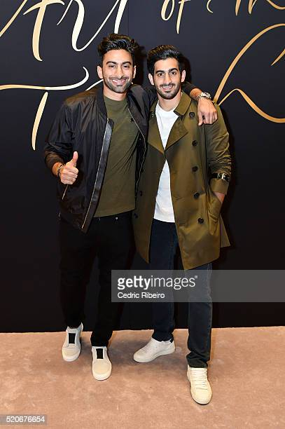 'DUBAI UNITED ARAB EMIRATES APRIL 12 Anas and Harith Bukhash attend the Burberry Art of the Trench Middle East event at Mall of the Emirates on April...