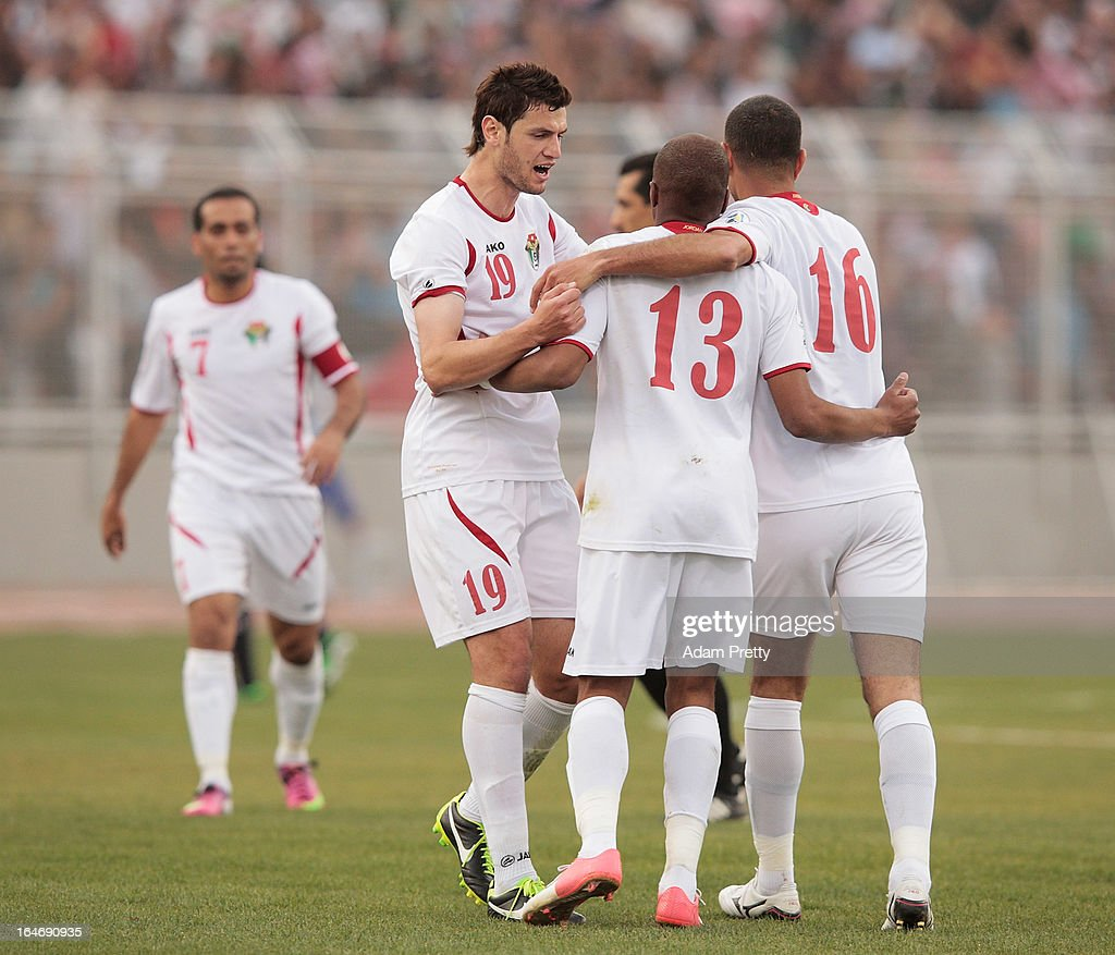 Anas Bani Yaseen of Jordan and team mates celebrate during the FIFA World Cup Asian qualifier match between Jordan and Japan at King Abdullah International Stadium on March 26, 2013 in Amman, Jordan.