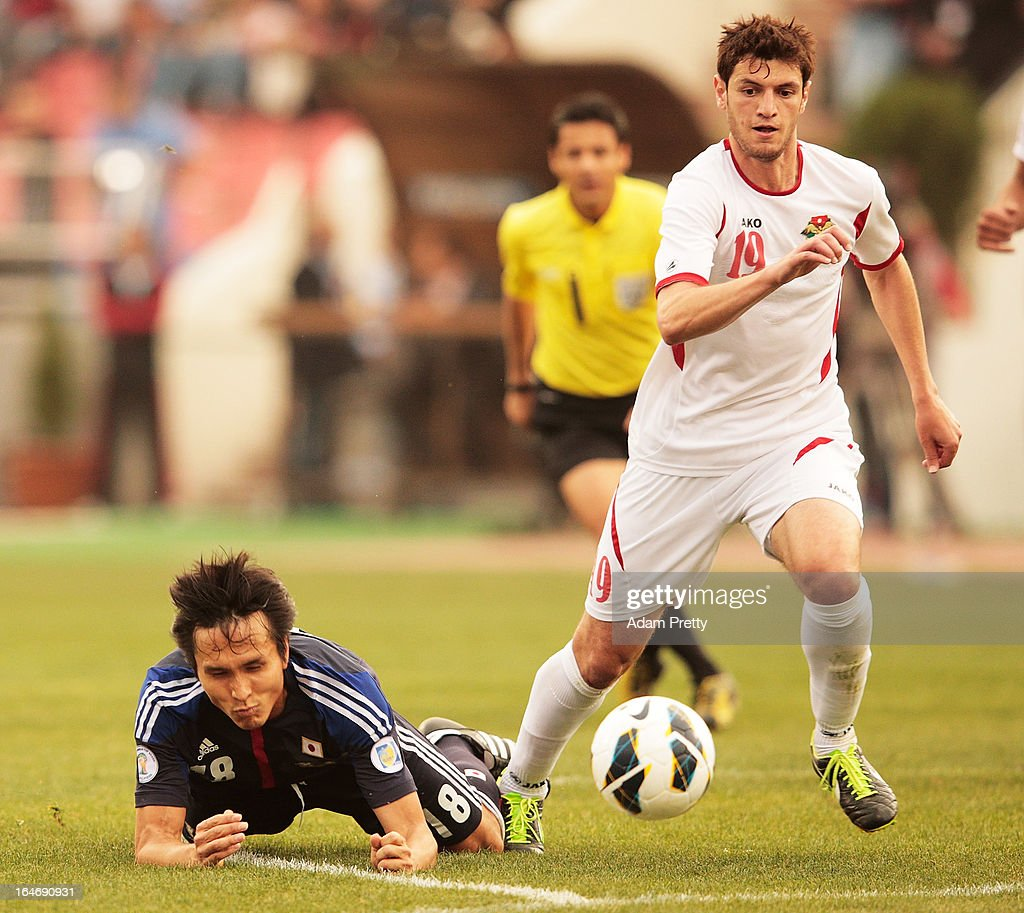 Anas Bani Yaseen of Jordan in action during the FIFA World Cup Asian qualifier match between Jordan and Japan at King Abdullah International Stadium on March 26, 2013 in Amman, Jordan.