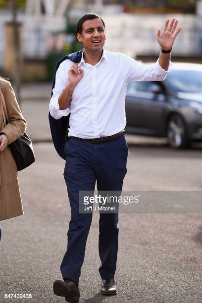Anas Sarwar arrives for the launch of his campaign to be Scottish Labour leader at the Gorbals Parish Church on September 15 2017 in GlasgowScotland...