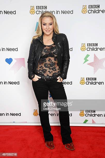 Anastacia shows her support for BBC Children in Need at Elstree Studios on November 13 2015 in Borehamwood England