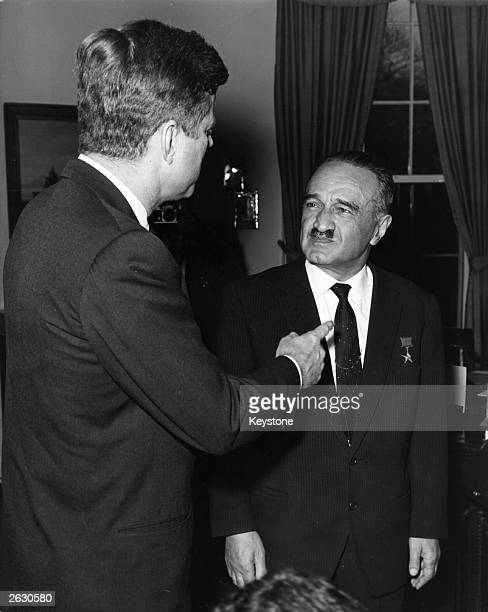 Anastas Ivanovich Mikoyan Soviet politician in his capacity as Deputy Premier of the USSR meeting President Kennedy of America at the White House for...