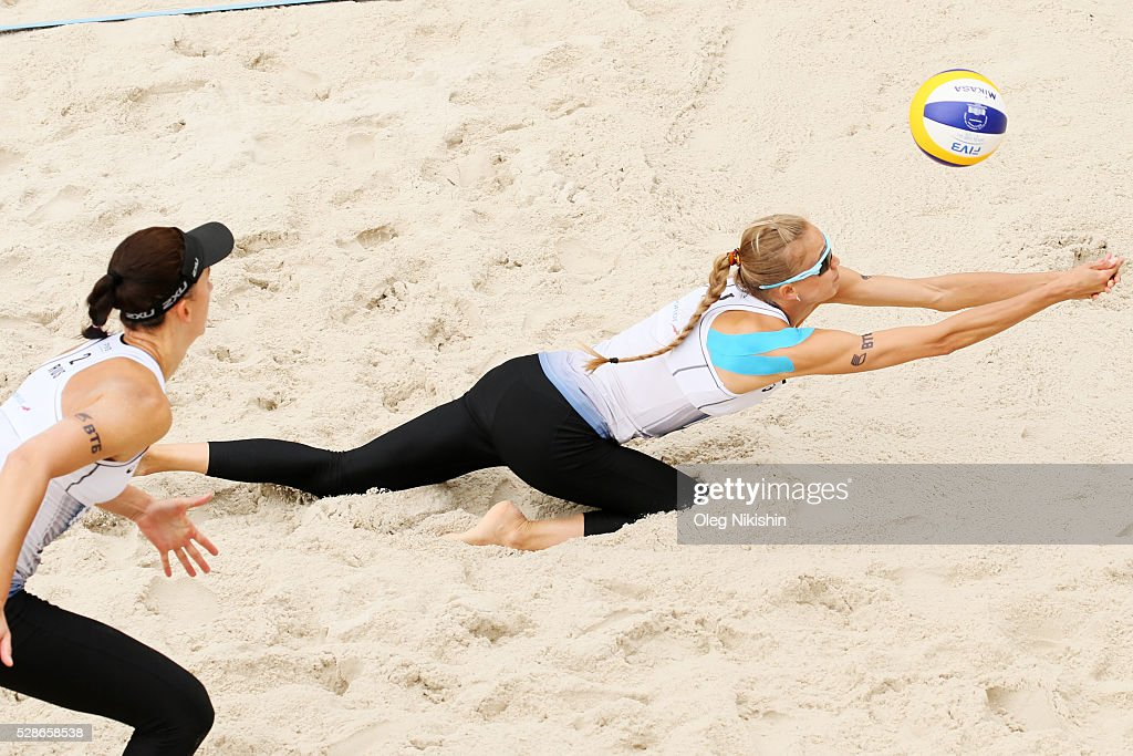 Anastasia Barsuk (R) of Russia digging during day 4 of FIVB Sochi Open presented by VTB on May 6, 2016 in Sochi, Russia.