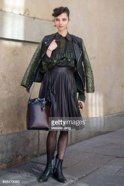 Anastasia Chekry outside Bottega Veneta during Milan Fashion Week Fall/Winter 2017/18 on February 25 2017 in Milan Italy