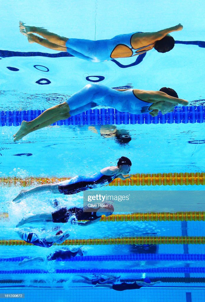 Anastasia Diodorova of Russia, Fuying Jiang of China, Natalie Jones of Great Britain, <a gi-track='captionPersonalityLinkClicked' href=/galleries/search?phrase=Eleanor+Simmonds+-+Swimmer&family=editorial&specificpeople=4132578 ng-click='$event.stopPropagation()'>Eleanor Simmonds</a> of Great Britain, Verena Schott of Germany, Oksana Khrul of Ukraine and Elizabeth Johnson of Great Britain compete in the on day 5 of the London 2012 Paralympic Games at Aquatics Centre on September 3, 2012 in London, England.