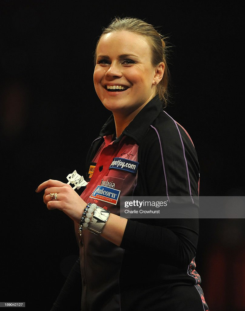 Anastasia Dobromyslova of Russia celebrates winning her Quarter Final match against Lorraine Farlam of England on day two of the BDO Lakeside World Professional Darts Championships at Lakeside Country Club on January 06, 2013 in London, England.