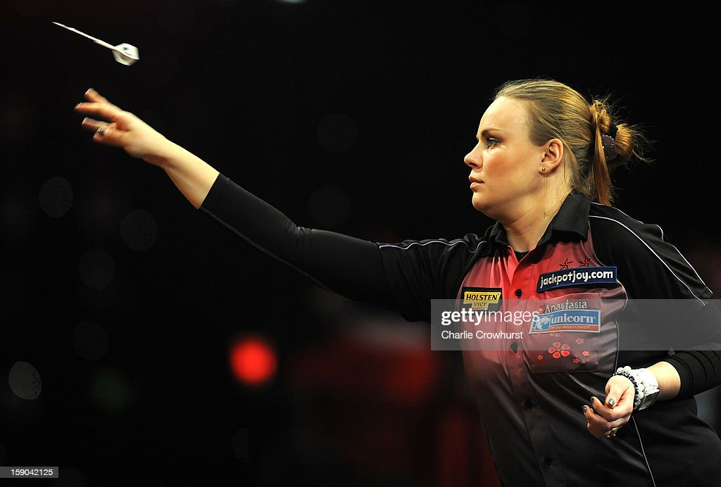 Anastasia Dobromyslova of Russia in action during her Quarter Final match against Lorraine Farlam of England on day two of the BDO Lakeside World Professional Darts Championships at Lakeside Country Club on January 06, 2013 in London, England.