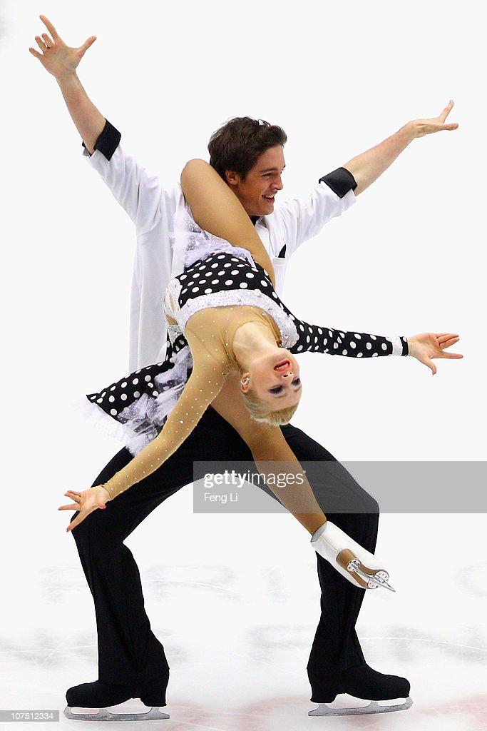Anastasia Galyeta and Alexei Shumski of Ukraine skate in the Junior Ice Dance Free Dance during ISU Grand Prix and Junior Grand Prix Final at Beijing Capital Gymnasium on December 10, 2010 in Beijing, China.