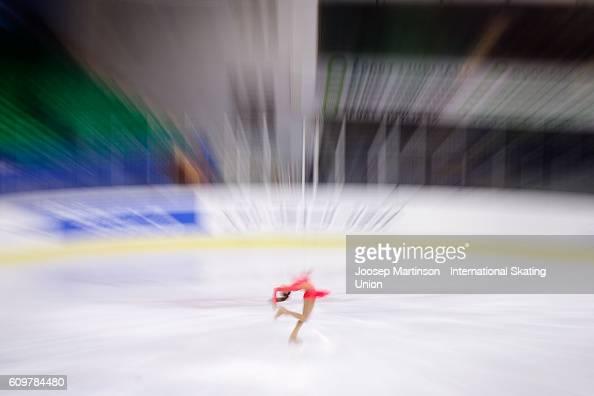 Anastasia Gozhva of Ukraine competes during the Junior Ladies Short Program on day one of the ISU Junior Grand Prix of Figure Skating on September 22...