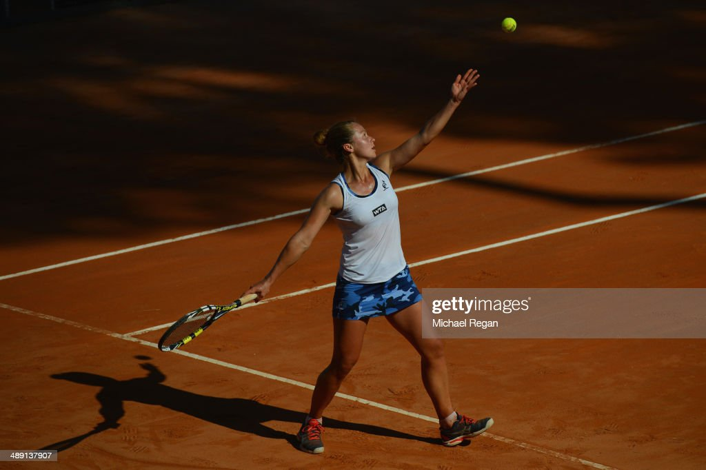 Anastasia Grymalska of Switzerland serves against Paula Ormaechea of Argentina during qualifying for the Internazionali BNL d'Italia 2014 on May 10, 2014 in Rome, Italy.
