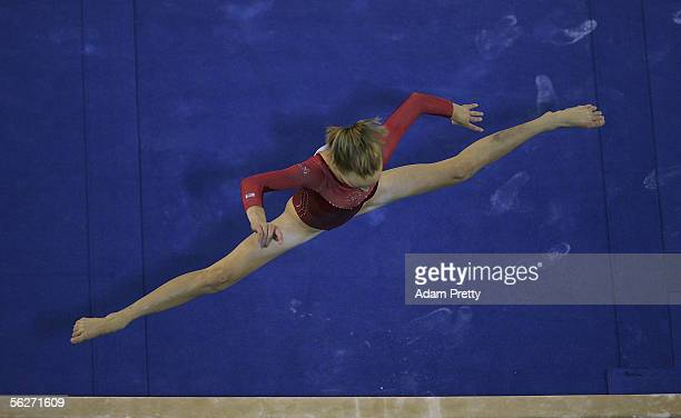 Anastasia Liukin of the USA in action on the Beam during the Womens Individual AllAround Final of the 2005 World Gymnastics Championship at Rod Laver...