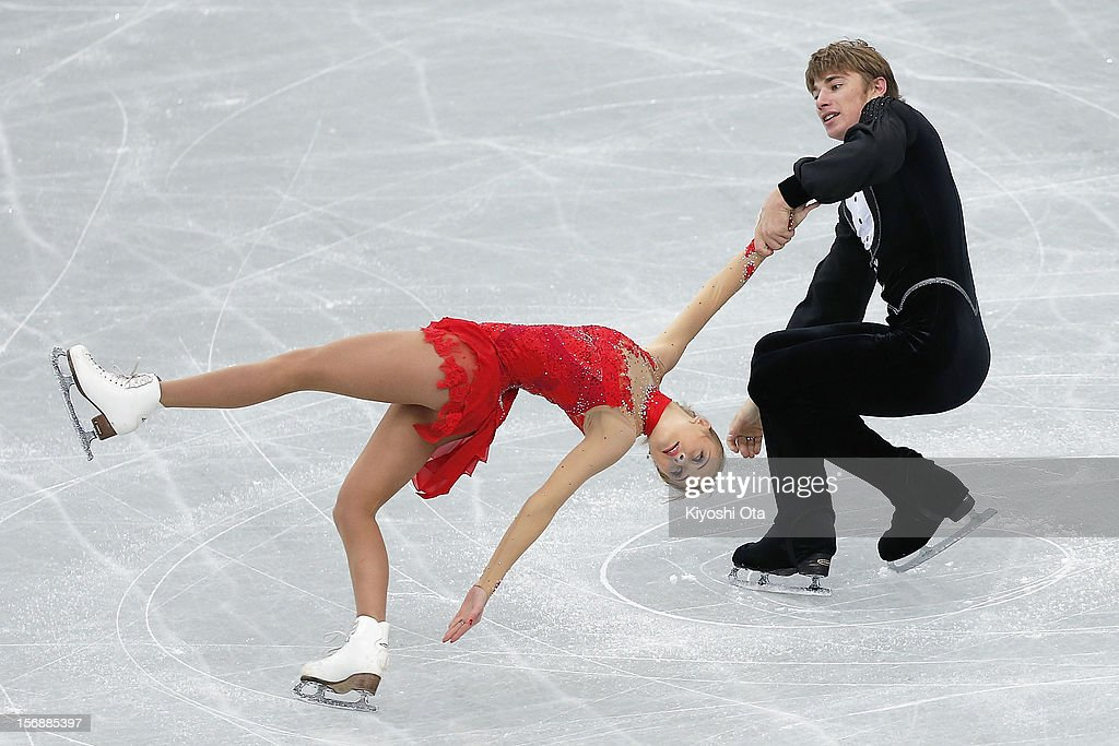 Anastasia Martiusheva and Alexei Rogonov of Russia compete in the Pairs Short Program during day two of the ISU Grand Prix of Figure Skating NHK Trophy at Sekisui Heim Super Arena on November 24, 2012 in Rifu, Japan.