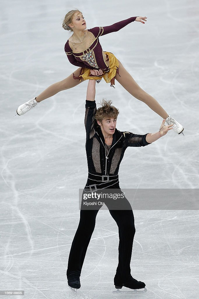 Anastasia Martiusheva and Alexei Rogonov of Russia compete in the Pairs Free Skating during day three of the ISU Grand Prix of Figure Skating NHK Trophy at Sekisui Heim Super Arena on November 25, 2012 in Rifu, Japan.