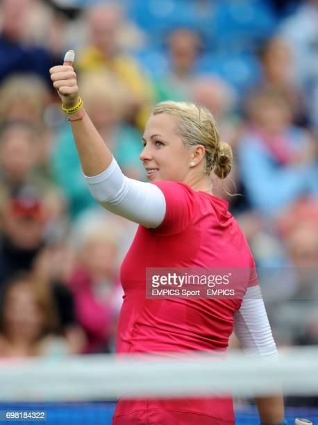 Anastasia Pavlyuchenkova celebrates winning her match against Agnieszka Radwanska during the AEGON International at Devonshire Park Eastbourne