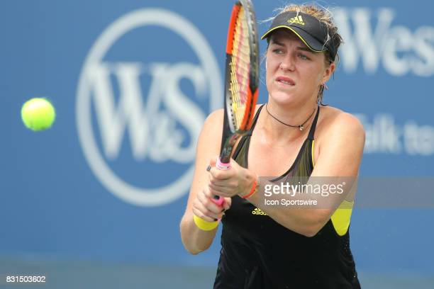 Anastasia Pavlyuchenkova hits a backhand during the Western Southern Open at the Lindner Family Tennis Center in Mason Ohio on August 14 2017