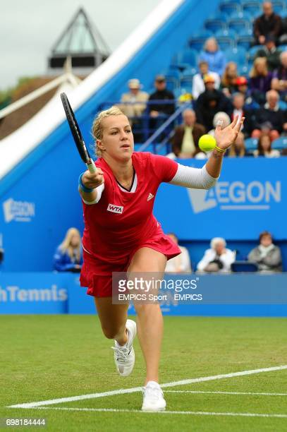 Anastasia Pavlyuchenkova in action against Agnieszka Radwanska during the AEGON International at Devonshire Park Eastbourne