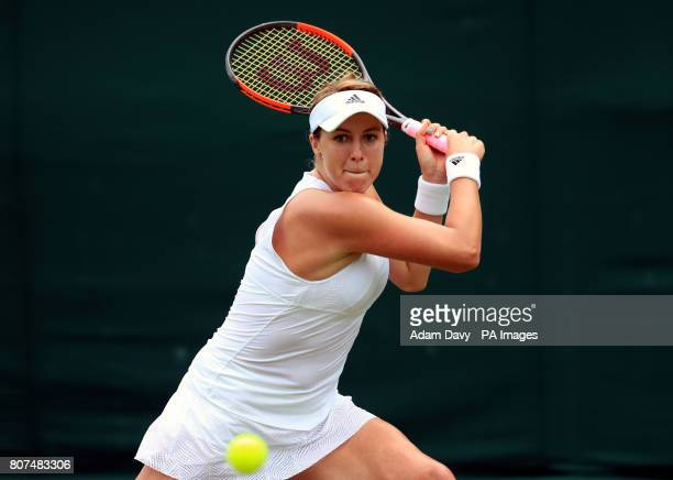 Anastasia Pavlyuchenkova in action against Arina Rodionova on day two of the Wimbledon Championships at The All England Lawn Tennis and Croquet Club...
