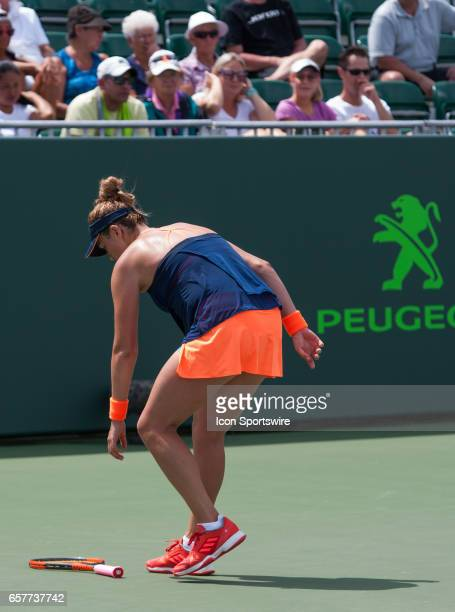 Anastasia Pavlyuchenkova in action during the 2017 Miami Open in Key on March 25 at the Tennis Center at Crandon Park in Biscayne FL