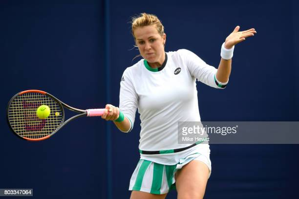 Anastasia Pavlyuchenkova of Russi hits a forehand during the ladies singles round of 16 match against Heather Watson of Great Britain on day five of...