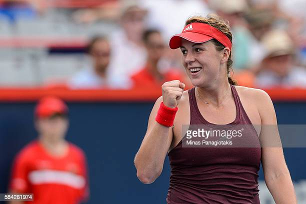 Anastasia Pavlyuchenkova of Russia celebrates her win over Agnieszka Radwanska of Poland during day four of the Rogers Cup at Uniprix Stadium on July...