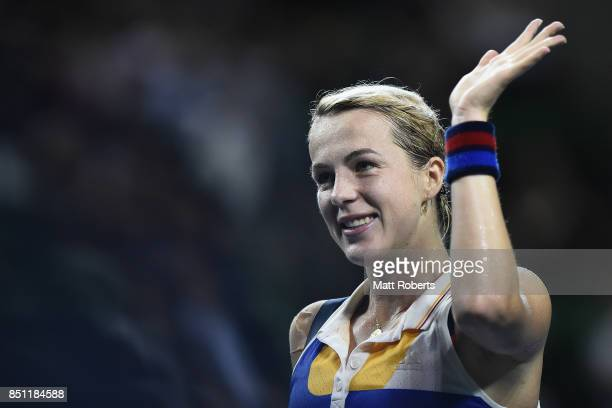 Anastasia Pavlyuchenkova of Russia celebrates winning her quarter final match against Barbora Strycova of Czech Republic on day five of the Toray Pan...