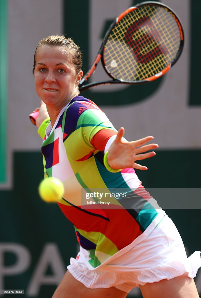 Anastasia Pavlyuchenkova of Russia hits a forehand during the Ladies Singles third round match against Svetlana Kuznetsova of Russia on day six of the 2016 French Open at Roland Garros on May 27, 2016 in Paris, France.