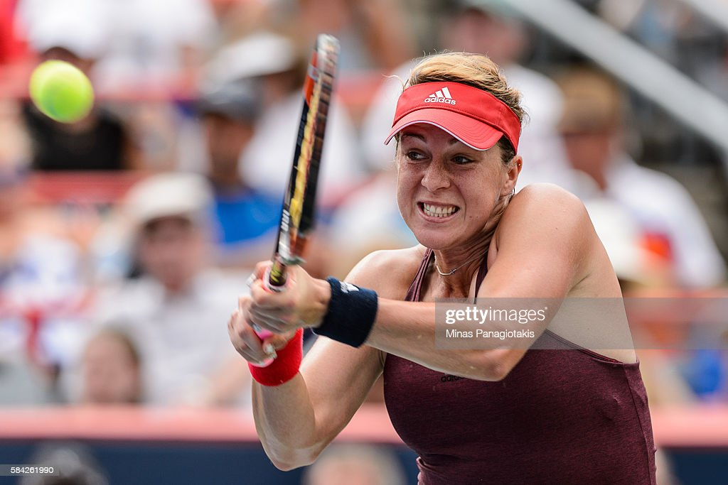 Anastasia Pavlyuchenkova of Russia hits a return against Anastasia Pavlyuchenkova of Russia during day four of the Rogers Cup at Uniprix Stadium on...