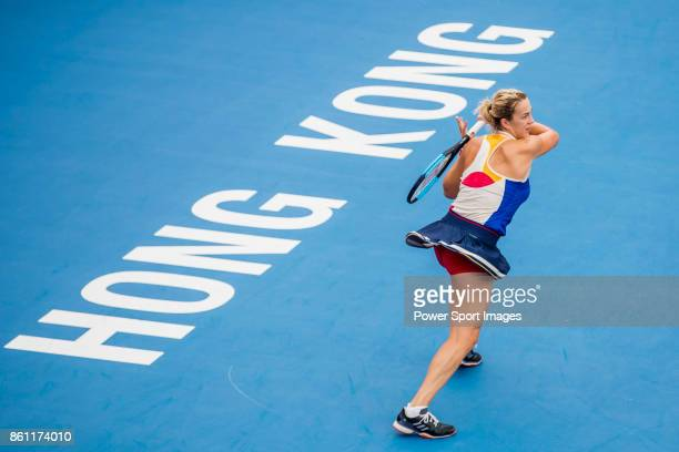 Anastasia Pavlyuchenkova of Russia hits a return during her womenâs singles semifinal match of the Prudential Hong Kong Tennis Open 2017 between...