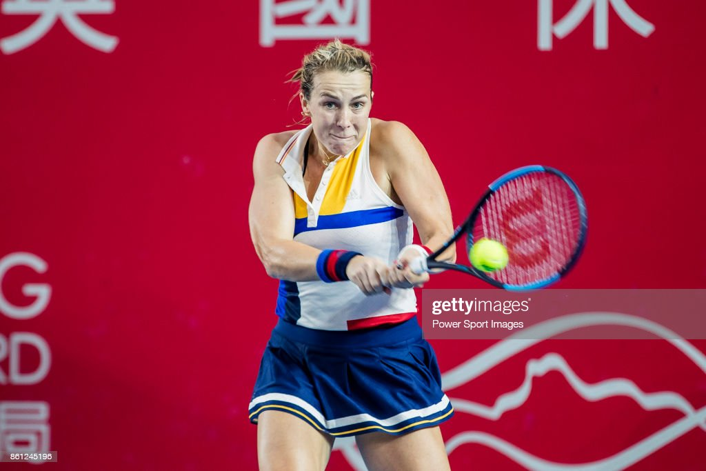 Anastasia Pavlyuchenkova of Russia hits a return during her women's singles semi-final match of the Prudential Hong Kong Tennis Open 2017 between Qiang Wang of China and Anastasia Pavlyuchenkova of Russia at Victoria Park on October 14, 2017 in Hong Kong, Hong Kong.